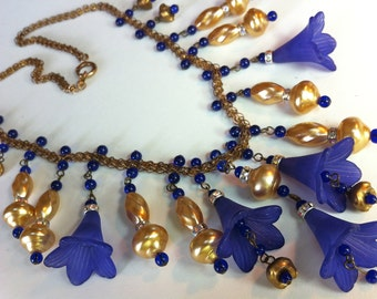 Beautiful Purple Blue Bell Flower Necklace