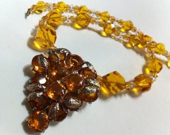 Art Deco Czech Amber Fur Clip Crystal Necklace