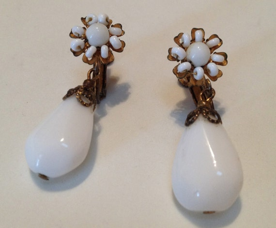 Miriam Haskell White Glass Drop Earrings