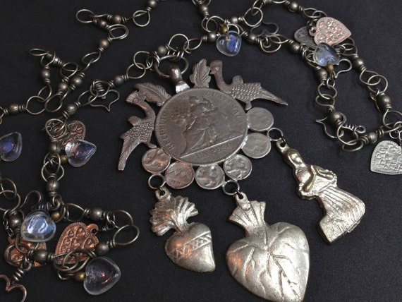 Vintage Guatemalan Peso Coin Medallion Necklace