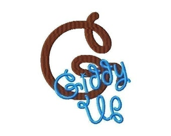 Giddy Up Machine Embroidery Font INSTANT DOWNLOAD
