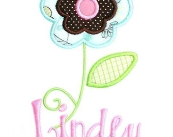 Frilly Flower 1 Applique Machine Embroidery Design INSTANT DOWNLOAD