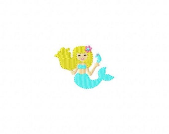 Mermaid MINI Made To Match Filled Stitch Machine Embroidery Design INSTANT DOWNLOAD