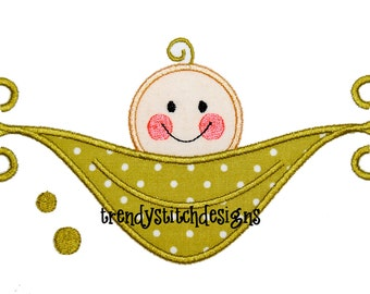 PeaPod 2  Applique Design Pea Pod Baby INSTANT DOWNLOAD