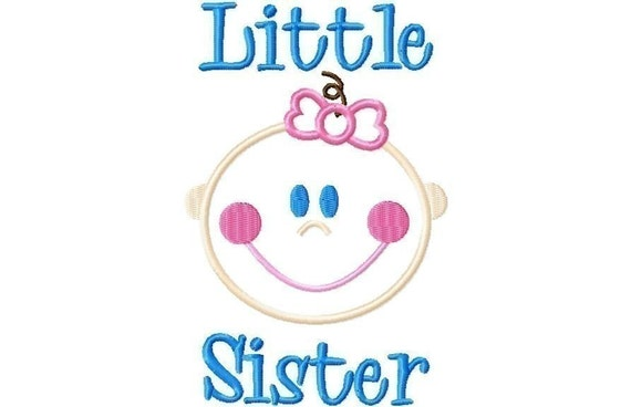 Baby Girl Little Sister Applique Machine Embroidery Design INSTANT DOWNLOAD