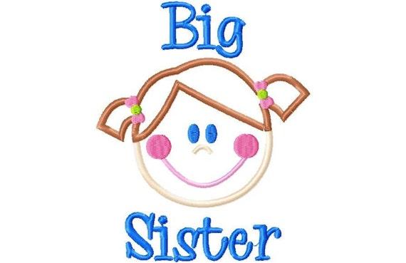 Big Girl SISTER applique machine embroidery design INSTANT DOWNLOAD