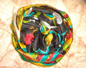 Beautiful Abstract Print Scarf,  Recycled Sari Pure Silk Scarf (22x80)