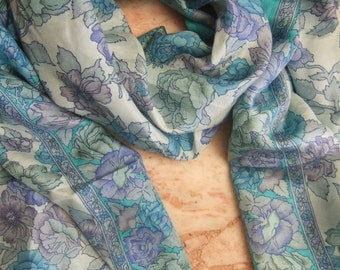 Beautiful Floral Print Scarf,  Recycled Sari Pure Silk Scarf (22x70)
