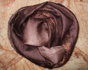 Beautiful Embroidery  Recycled Sari Pure Silk  Scarf (22x97)