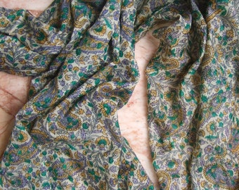Beautiful  Paisley/Floral Print Scarf,  Recycled Sari Silk Scarf (22x68)