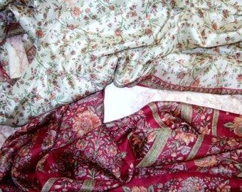 Beautiful  Floral Scarf,  Recycled Sari Pure Silk Scarf (44x68)