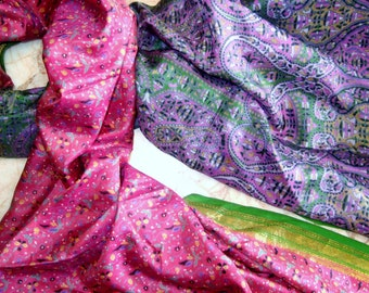 Beautiful Unique Floral Print  Recycled sari  pure silk scarf (22x70)