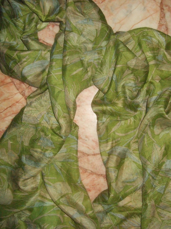 Beautiful Lime Floral Print  Recycled sari  pure silk scarf (22x80)