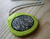 Lime Green Ceramic Texture Necklace