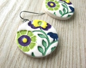 Flower Earrings- violet, yellow, and lime with a blue bird
