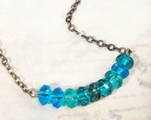 Blue and Teal Necklace in Gunmetal Silver