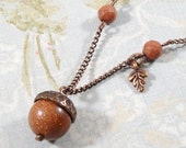 Acorn and Oak Leaf Fall Necklace in Antiqued Copper