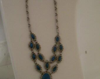 Vintage Faux Turqouise Silver Necklace
