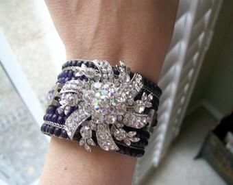 Beautiful Beaded Blue Bracelet with Rhinestone Brooch