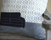 Machine Applique Couch Pillow - 20x20 size -
