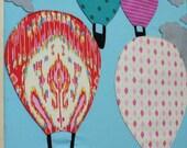 Custom Mixed Media Fiber Wall Art - Hot Air Balloons