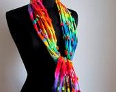 Scarf.Felted Scarf.Scarf.Lattice Scarf Rainbow Scarf.Handmade Merino Wool Scarf.