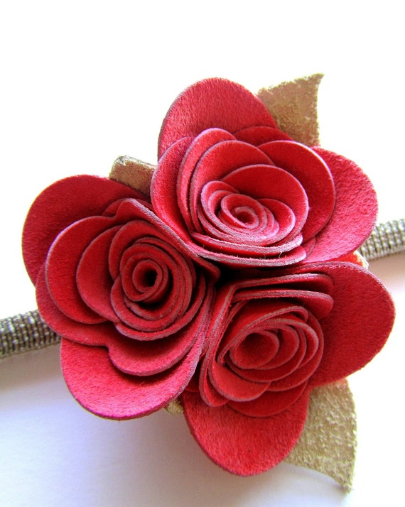 Pink of Me Bouquet Bunch: Handmade Fabric Flower Headband with Pink Recycled Leather