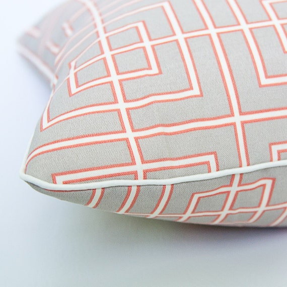 Orange, grey, cream square with oyster piping, 15x23 inch decorative pillow cover