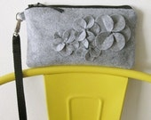 wristlet zipper clutch purse gray wool felt with flowers and removable wrist strap
