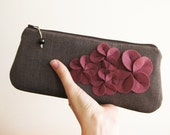 Clutch purse, brown herringbone, felt flowers