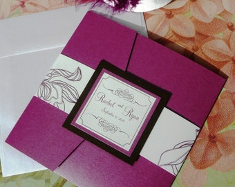 Purple Punch Orchid Pocketfold Wedding Invitation with Flourish