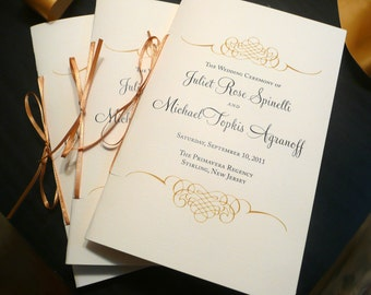 100 Gold Wedding Programs, Gold and Black Wedding, Elegant Wedding Programs - Gold Flourish Wedding Programs - 4 Pages of Text