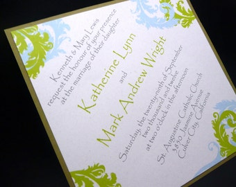 "Eco-Friendly Wedding Invitation, Vintage Design - ""The Katherine"" Sample"
