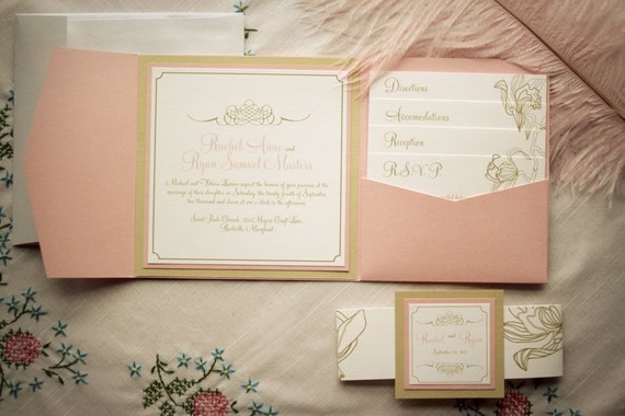 Ivory Wedding Invitation Kits: Wedding Invitation Package / Pink And Gold By