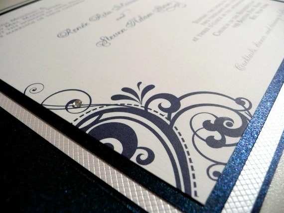 Custom Wedding Invitation - Sapphire and Diamonds Pocketfold Sample
