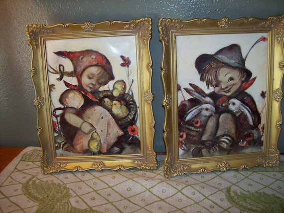 Vintage Signed Hummel Framed Prints Marked Made By
