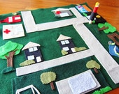 Girls and Boys' Felt Play Mat with Movable Buildings (optional) for Cars and Play -- Ready to Ship!