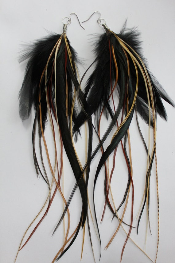 Forest Goddess - Extra Long Feather Earrings