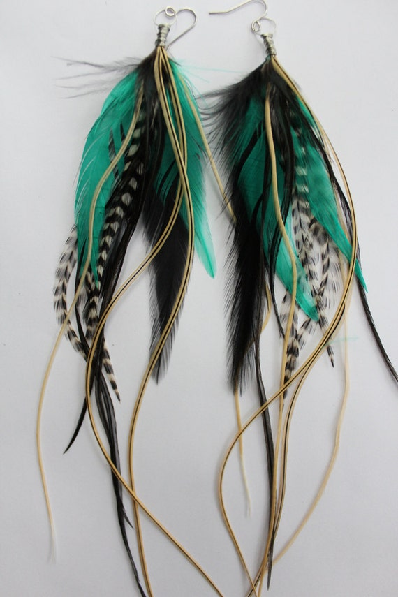 Water Pixie - Extra Long Feather Earrings