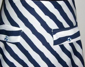 SALE 70s Vintage nautical stripes skirt