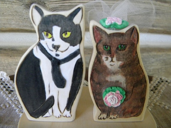 Wood  Cats Portrait Wedding Fun Cake Topper Looks like YOUR Kittys