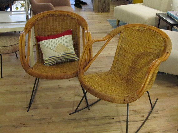 Amazing Pair of Vintage Wicker Shell Rocker Chairs