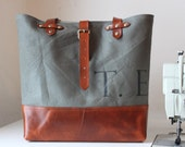 New Vintage Gun Metal Gray Leather Bottomed Canvas Carryall
