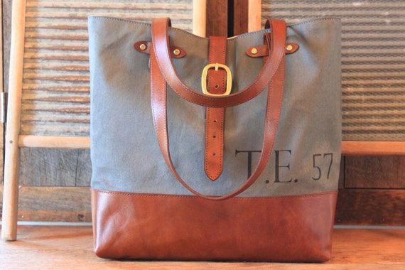 SALE LAST ONE New Vintage Gun Metal Gray Leather Bottomed Canvas Carryall