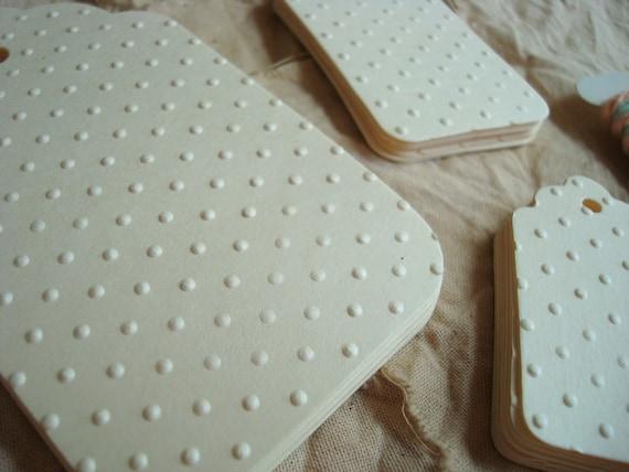 Cream Polka Dots - Classic Embossed Tag Kit
