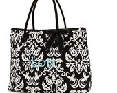 Personalized Bridesmaid Bag - Personalized Quilted Black and White Damask Tote Bag