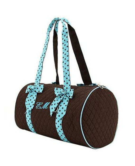 Monogrammed Quilted Duffle Bag Small Round By Atwinklestar