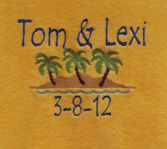 Beach Blanket Date: RESERVED Personalized Beach Towel With Wedding Date Favor