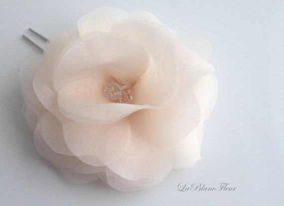 Silk Flower, Crystal Bridal Hair Flower, Flower Hair Pin, White, Ivory, Off White, Blush Pink, Champagne-Style No.526