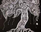 Tree Canvas Henna Mehndi Original 18x24 Black White Silver